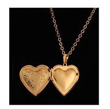 Collier plaqué or coeur médaillon photo pour saint valentin