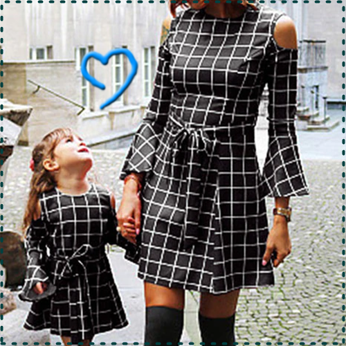 Mutter und Tochter Kleid Schulterfreies Familie Family passende Outfits