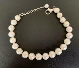 925-Sterling-Silver-Large-Freshwater-Pearl-Bracelet-White-AA-Bride-Wedding