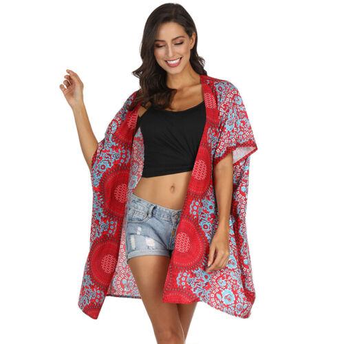 Damen Boho Blumen Kimono Cardigan Bikini Cover Up Strand Vertuschung Tops Bluse