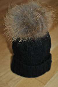 200d90edb0a0 Image is loading Black-Cable-Knit-Bobble-Hat-Beanie-Natural-Raccoon-