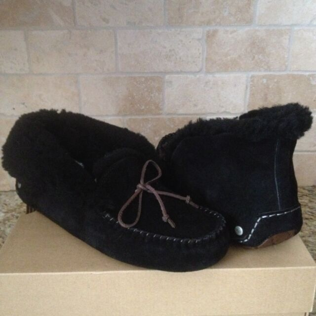 55a5d69a1c8 UGG Alena Slippers Moccasins Booties Black Suede Sheepskin Cuff Size US 5  Womens