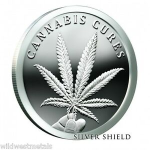 2016 Cannabis Cures 1oz Proof Silver Shield Sbss In