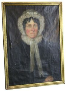 Antique-19th-Century-Victorian-Woman-Portrait-Oil-Painting-Bonnet-Colonial