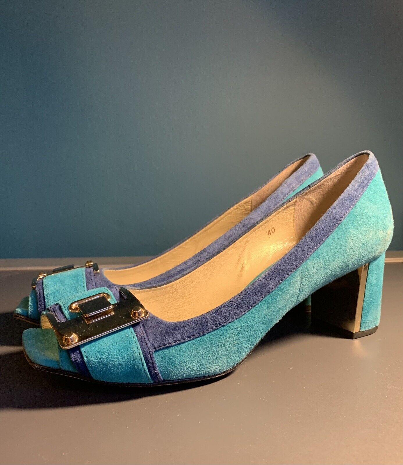 Luciano Barachini Size 40 All Leather/suede Turquoise & Blue Mod Shoes Peep Toe