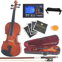 Mendini Solidwood Violin 1/4 Size +tuner+shdrest+2 Set Strings+case 1/4mv200 on Sale