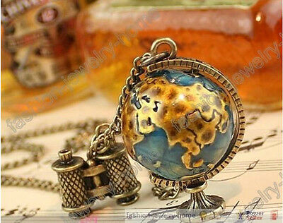 Fashion Retro Bronze Globe Telescope Charms Sweater Necklace