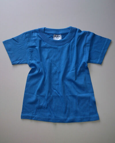 Infants Kids Girls Boys 2 Pack Crew Neck Plain T Shirts Top Ages 1-2 Years Old