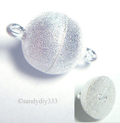 1x STERLING SILVER STARDUST ROUND BALL MAGNETIC CLASP 8mm N725