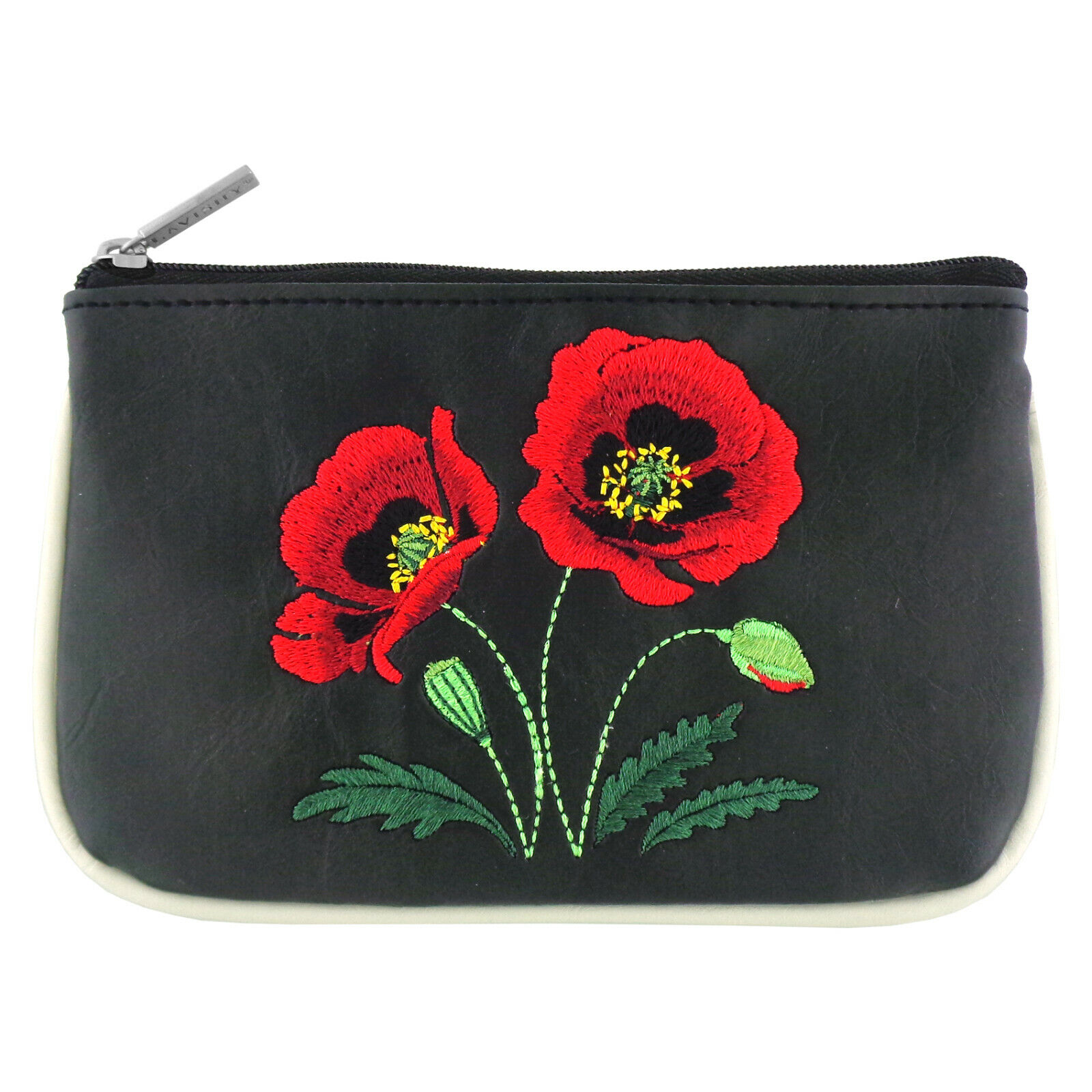 Lavishy Red Poppy Flower Embroidered Flat Pouch Coin Purse Wallet