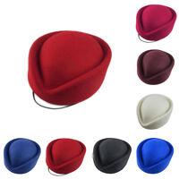 100% Wool Felt Stewardess Flight Attendant Round Pillbox Hat MULTI COLOR Unique
