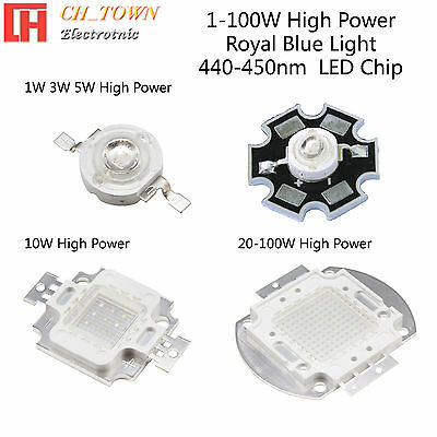1Pcs 100W Watt High Power Royal Blue 440-450nm SMD LED Chip COB Lamp Lights