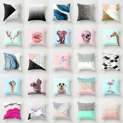 Polyester Cartoon animal pillow case cover sofa waist cushion cover Home decor
