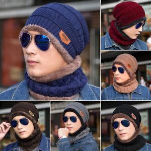 1693b9ae7e6 Mens Winter Knit Baggy Beanie Wool Skull Hat Ski Snow Cap Scarf Neck ...