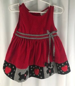 615c86ea596c Image is loading Rare-Editions-Girls-2T-Red-Black-Corduroy-Scottie-