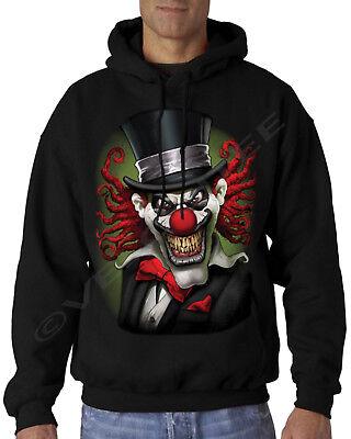 Velocitee Uomo Felpa con cappuccio Crazy Spaventoso Clown Del Circo A19402