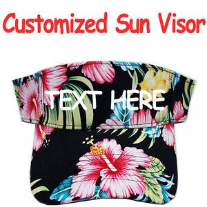 Personalized Sun Visor Cap Hat Aloha Hawaiian Flower Print Pattern ... 2320306d4de
