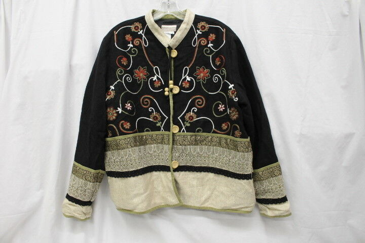 COLDWATER CREEK Multi-color Lace & Floral Embroidered Blazer Womens Size M-B75