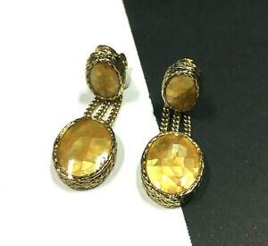 Vintage MONET Mosaic Gold MOP Dangle Drop CLIP EARRINGS Gold PL Chains ii27B