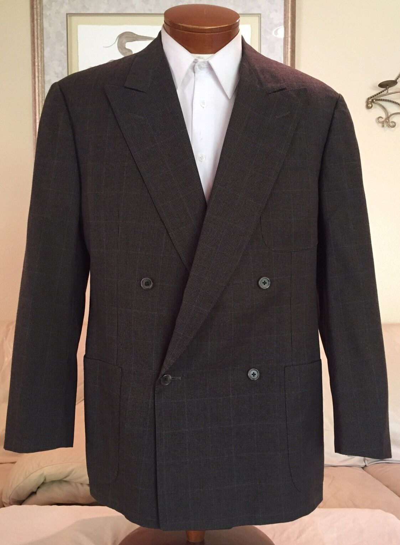 Ermenegildo Zegna grau Plaid 100s  Herren DB Sport Coat Blazer Sz 40 42 R Excellent