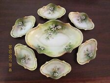 VERY RARE GORGEOUS RS PRUSSIA SALT DIP SET MASTER & 6 SMALL WHITE FLORAL GOLD ST
