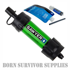 NEW-SAWYER-MINI-WATER-FILTER-KIT-GREEN-Filtration-Survival-Purification-Straw
