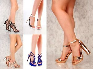 2c259328d03d New Sexy Rose Gold Black Blue Quilted Chunky Strappy Open Toe High ...