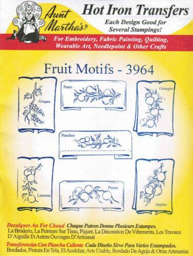 Fruit Motifs #3964 Aunt Martha/'s Hot Iron Embroidery Transfer Pattern