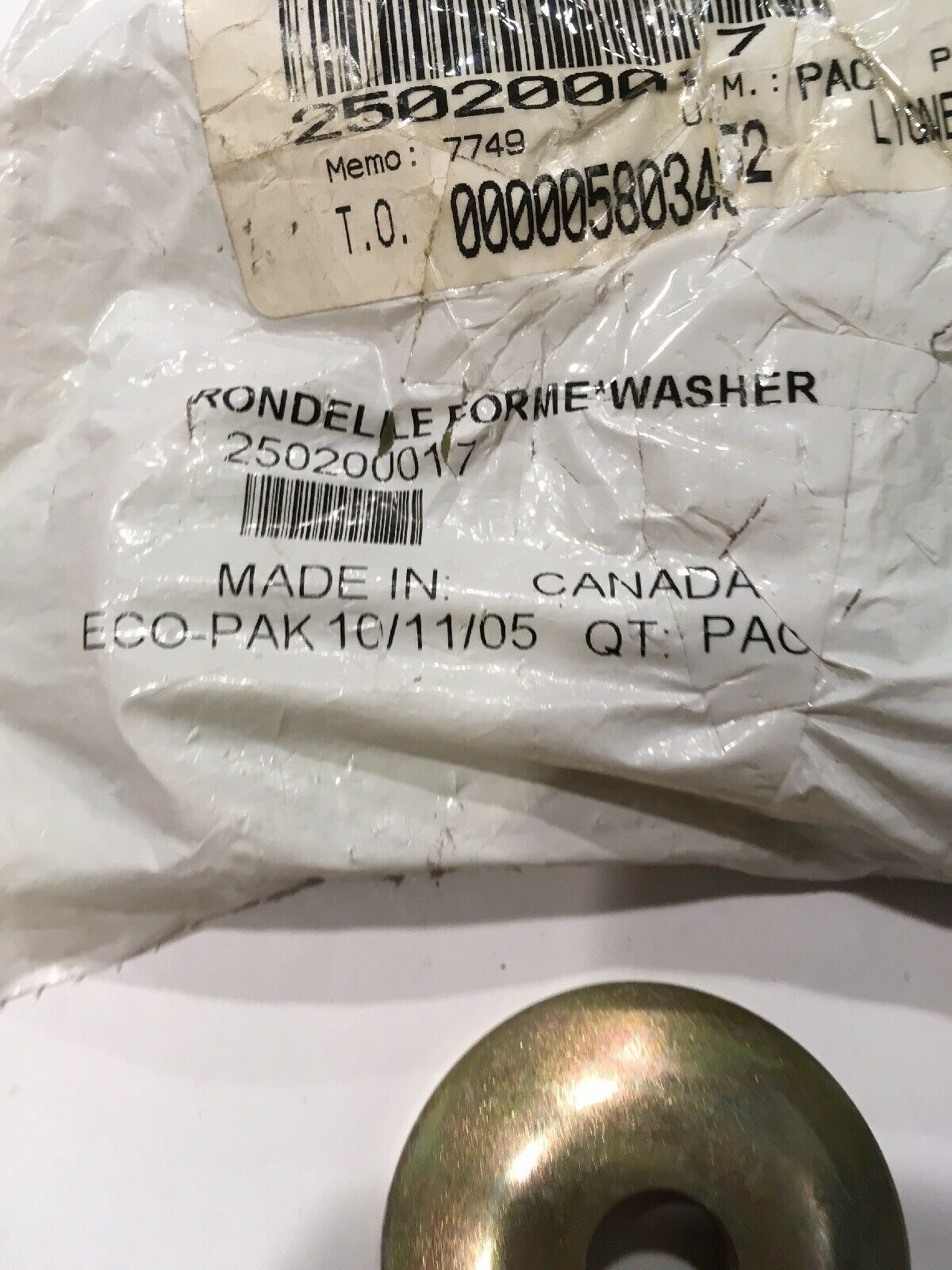 NEW Bombardier Can-Am OEM BRP Washer 250200017