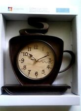 """Coffee Cafe Latte Wall Clock 10"""" Coffee Cup Home Kitchen Decor Brown"""
