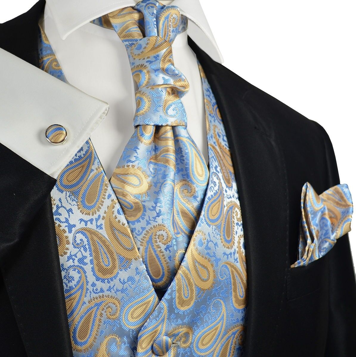 Alaskan bluee Paisley Tuxedo Vest, Tie and Accessories by Paul Malone