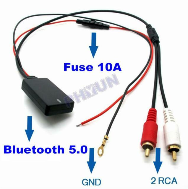Receiver Module Transmitter for Phones Smartphones Universal Bluetooth AUX to 2 Two RCA Male Powered by 12V Cable Aux Wireless Connection Adapter Dongle for Car Stereo Mp3 Music Tablets