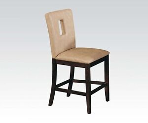 Wooden Curved Legs Dining Chairs White PU Back Cut Outs 6 ...