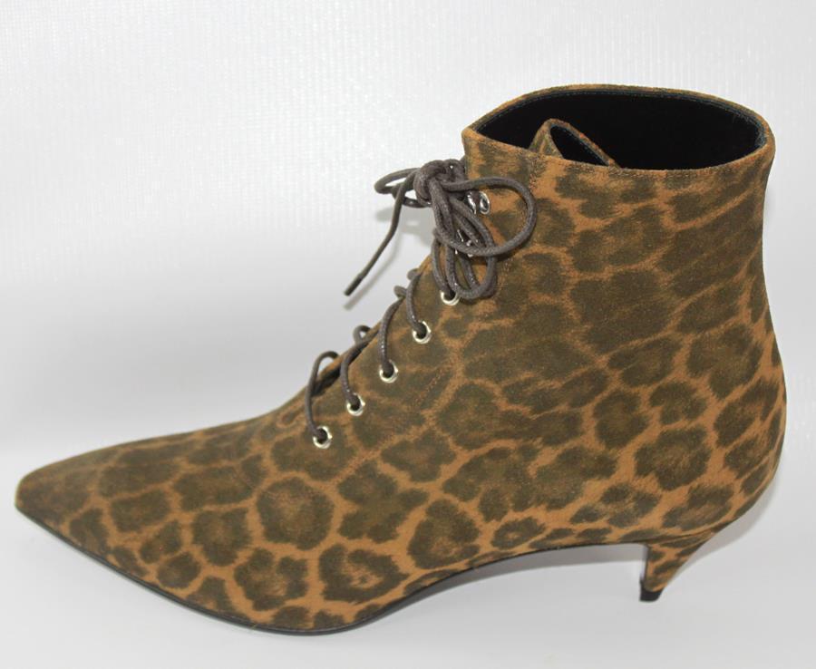 AUTH YSL Saint Laurent Women Suede Leather Low Heel Boots 36