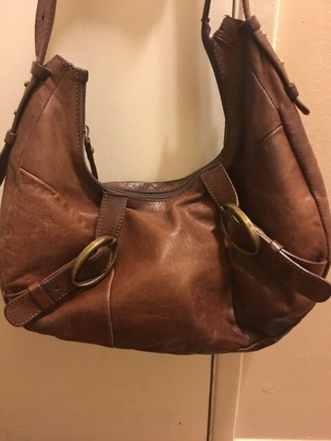 74d5eb48ac85 Coccinelle Distress Brown Leather Hobo Bag Purse Shoulder Handbag