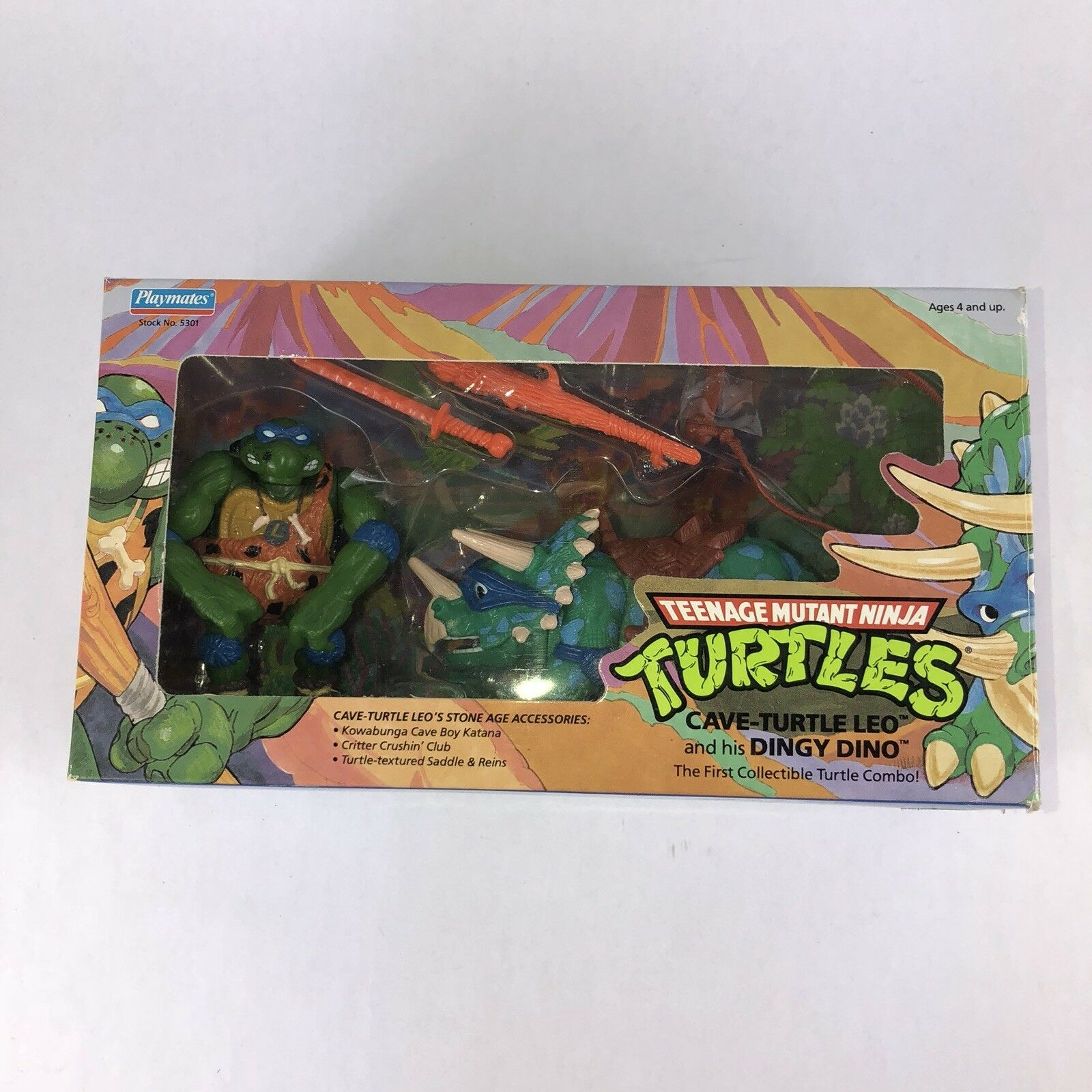 1992 Cave-Turtle Leo & Dingy Dino TMNT Teenage Mutant Ninja Turtles New