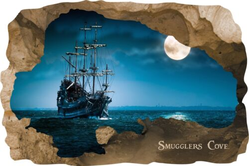 Huge 3D Smugglers Cove Pirate Cave View Wall Stickers Mural  Decal Film 9