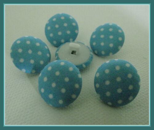 button blue 1,7 cm tissu LOT 6 BOUTONS  bleu pois blanc 17 mm  pied