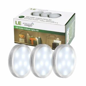 LE 3x 27 LED Under Cabinet Light Kit Home Kitchen Lighting Closet Puck Lamp
