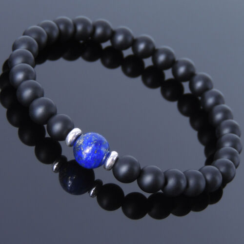Karen 516 Matte Black Onyx Lapis Sterling Silver Bracelet Homme femmes À faire soi-même