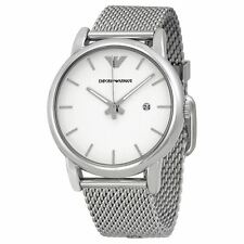 Emporio Armani Mens Chronograph Watch Mesh Bracelet White Dial AR1812