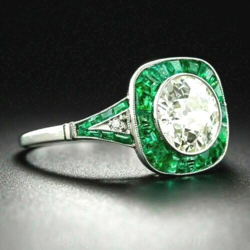 Vintage Art Deco 3.00Ct Round Diamond /& Emerald Antique Engagement 14k Gold Over