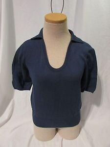 Tommy-Bahama-Shirt-Top-Women-039-s-Size-Small-4-6-Short-Sleeve-Blue-Collar