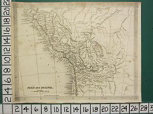 1836 DATED GEORGIAN MAP ~ SOUTH AMERICA PERU & BOLIVIA CHUQUIS CUZCO