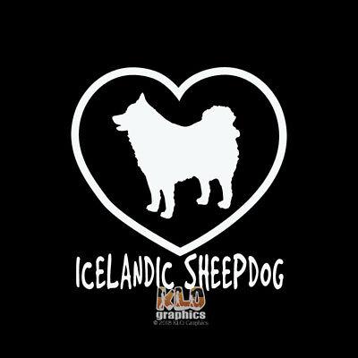 ICELANDIC SHEEPDOG I Love My Vinyl Sticker / Decal AKC Registered Pet Dog
