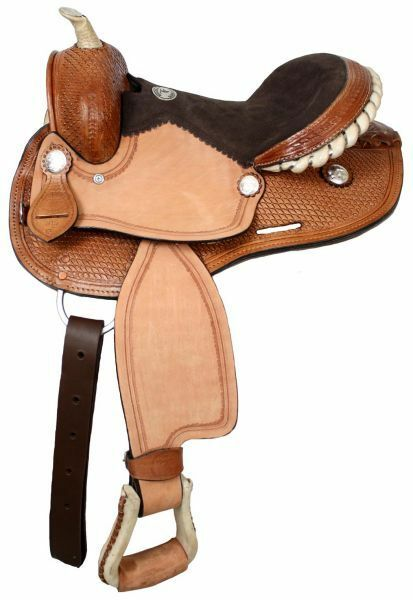 Double T round skirt youth saddle with suede leather seat.12