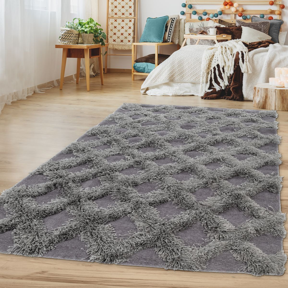 Hochflor Wohnzimmer Teppich Teppich Teppich Karo Muster Einfarbig Geometrisches Design Grau ef9642