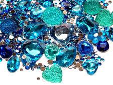 CandyCabsUK 50g Mixed Flatback & 3D Gems Rhinestones Jewels Ice Blue Mix DIY Kit