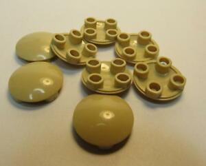 Lego 6 x Plate Round 2 x 2 with Rounded Bottom Tan 2654 NEW Boat Stud
