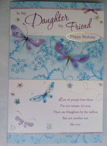 To My Daughter My Friend Happy Birthday Butterfly Design Good Quality Card